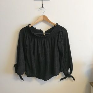 NWT We the Free black striped off the shoulder top
